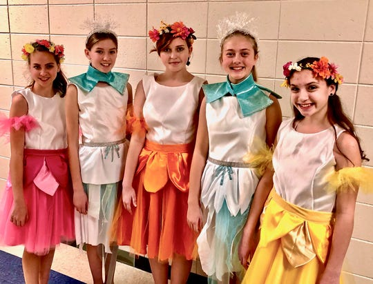 Treehouse Theater's production of Frozen Jr. Pictured, from left: Snow & Summer Chorus is Lindsey Pionek, Paige Jeske, Sophie Floyd, Clara Geissler and Mazie Frahm.