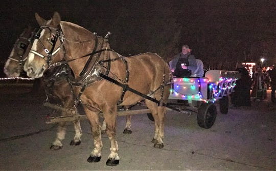 Horse-drawn wagon rides are always among the favorite activities at Christmas at Sinawa, set for Dec. 7 and 8. The Tim Hove team is one of the traditional teams that volunteers their time for this event each year.