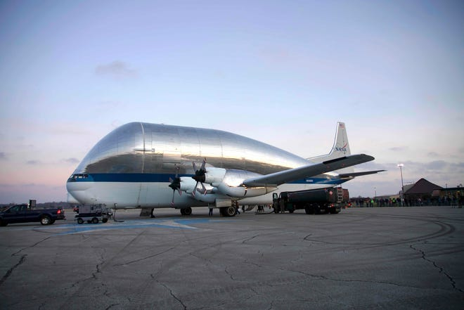 The last Aero Spacelines Super Guppy still in commission landed in 2019 in Mansfield. The plane, which has the largest cargo hold of any plane in the world, has been flying since 1965. It previously flew the Saturn and Apollo spacecrafts.
