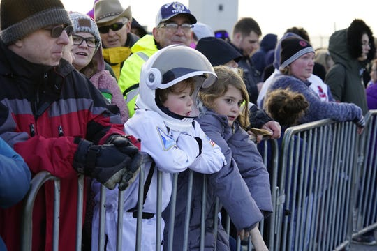 Chase Orton, 6, of Mansfield, waits in the cold to see the Super Guppy land at Mansfield Lahm Regional Airport on Nov. 24. He wants to be an astronaut some day so he can see the moon.
