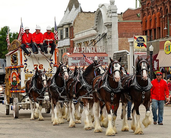 The Wisconsin tradition of a circus parade continues in downtown Baraboo with nearly 90 circus-themed entries including horse-drawn historic wagons, elephants and marching bands in July.