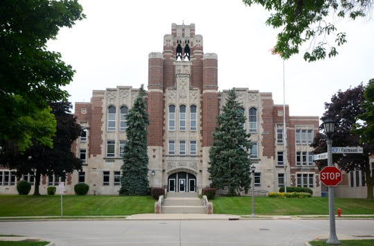 The exterior of Whitefish Bay High School is shown here.