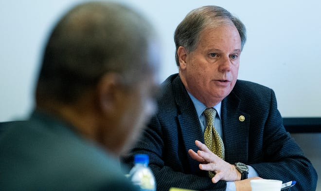 Sen. Doug Jones holds a roundtable discussion on environmental justice in the Black Belt on the Wallace Community College campus in Selma, Ala., on Monday, November 25, 2019.