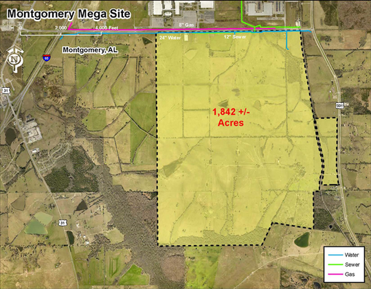 "This map from AdvantageAlabama shows an industrial site called ""Montgomery Mega Site"" in Montgomery County."