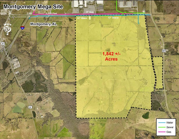 """This map from AdvantageAlabama shows an industrial site called """"Montgomery Mega Site"""" in Montgomery County."""