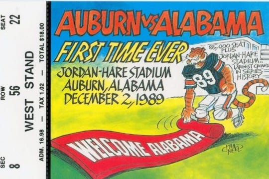 A ticket stub from the 1989 Iron Bowl.