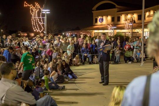 Pike Road Mayor Gordon Stone reads a Christmas story at the 2018 Christmas Tree Lighting.