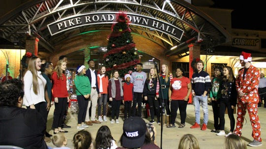 The Pike Road Schools Show Choir performs at the 2018 Christmas Tree Lighting.