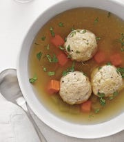 Matzoh ball soup is one course at the special holiday dinner at Jockey Hollow Bar & Kitchen in Morristown