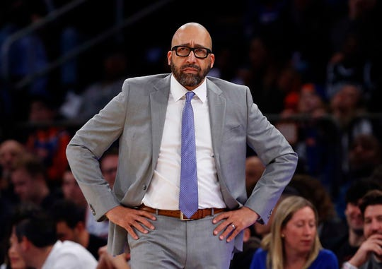 Nov 24, 2019; New York, NY, USA; New York Knicks head coach David Fizdale watches play against the Brooklyn Nets during the second half at Madison Square Garden. Mandatory Credit: Noah K. Murray-USA TODAY Sports