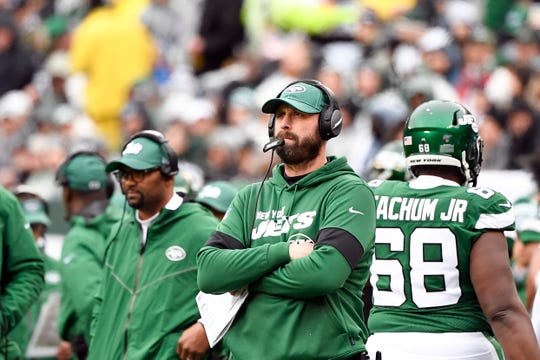 New York Jets head coach Adam Gase on the sideline in the first half against the Oakland Raiders on Sunday, Nov. 24, 2019, on East Rutherford.