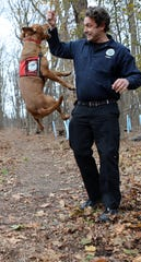 Joshua Beese, Conservation Dog Handler, plays with Dia, after the dog found an invasive species, during a demonstration at the NY/NJ Trail Conference, in Mahwah.  The conservation dogs are trained to find invasive species and when they find them they are rewarded by playing with their ball and interacting with their handler. Wednesday, November 20, 2019