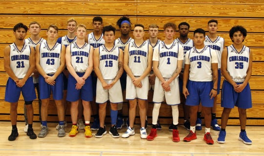 The 2019-2020 Carlsbad Cavemen varsity basketball team.