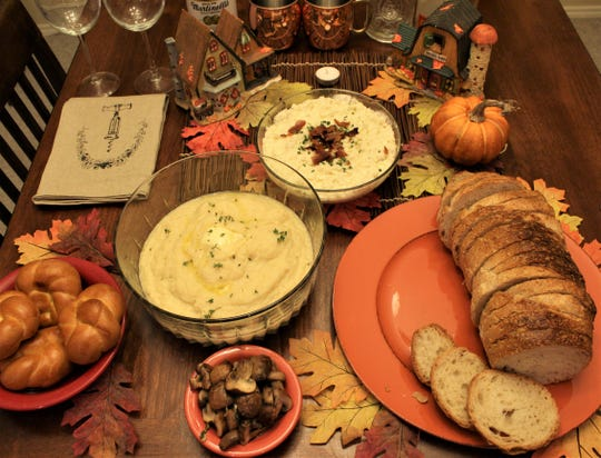 Celery root puree with glazed mushrooms and Cauliflower mash with Boursin cheese make two lower carb Thanksgiving side dishes that can be served during the holiday.