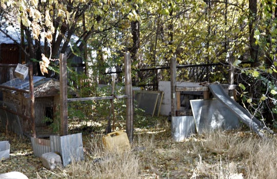 Debris and weeds are seen at a former dog kennel located on an abandoned property in Aztec.
