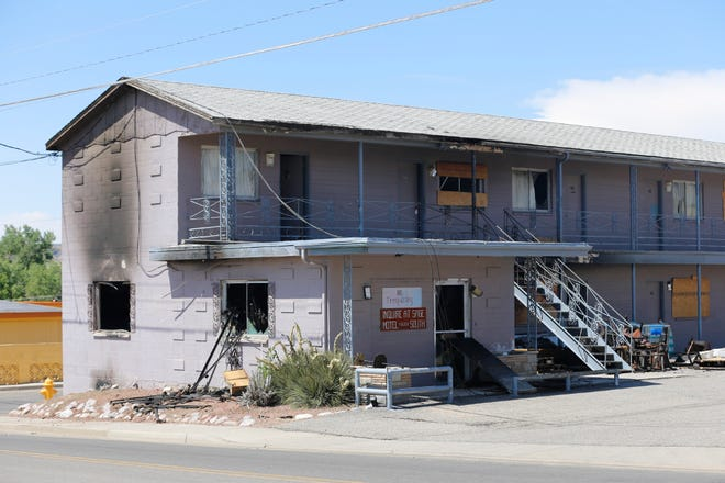 The Sage North Motel is pictured in June 2017 following a fatal fire.