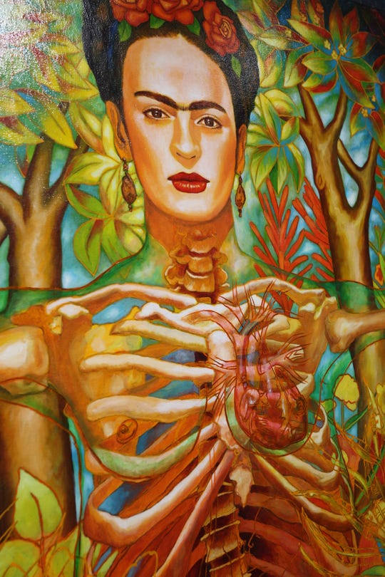 Frida Kahlo is the subject of the art in World of Frida traveling art exhibit now open to the public at the Carlsbad Museum and Art Center.