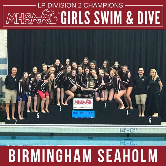 The Birmingham Seaholm Maples swim and dive team won the Division 2 state championship in 2019.
