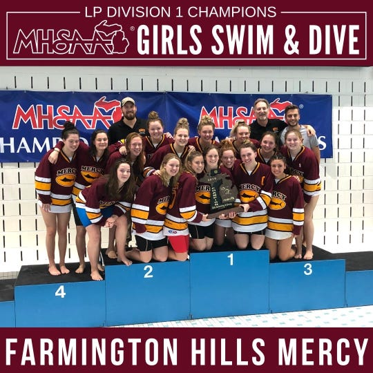 The Mercy swim and dive team captured the Division 1 state championship in 2019.