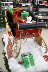 The Hudsons' sleigh on display at South Lyon's Great Lakes Ace Hardware store.