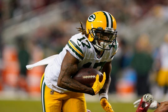 Davante Adams has caught seven passes in each of the three games since his return from an injury, for 41 yards against the  Chargers, 188 against the Panthers and 43 against the 49ers.