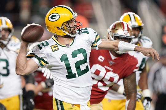 Nov 24, 2019; Santa Clara, CA, USA; Green Bay Packers quarterback Aaron Rodgers (12) throws the football against the San Francisco 49ers during the second quarter at Levi's Stadium. Mandatory Credit: Stan Szeto-USA TODAY Sports