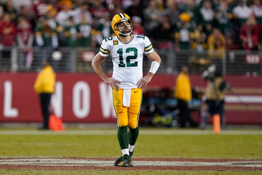 Green Bay Packers quarterback Aaron Rodgers reacts during the second half of an NFL football game against the San Francisco 49ers in Santa Clara, Calif., Sunday, Nov. 24, 2019.