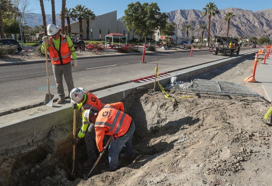A Granite Construction crew works on drainage improvements along Calle Tampico in La Quinta as part of the Village Complete Streets project on November 25, 2019. Revenue from the Measure G sales tax increase is helping pay for the project.