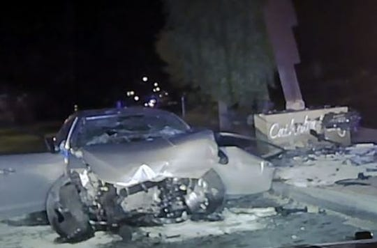 This photo shows a car involved in a fatal crash early Monday, Nov. 25, 2019 in Cathedral City. A Hemet woman died after crashing into the city entry sign on Dinah Shore Drive, near Cathedral Canyon Drive. Her passenger, a Concord man, died days later.