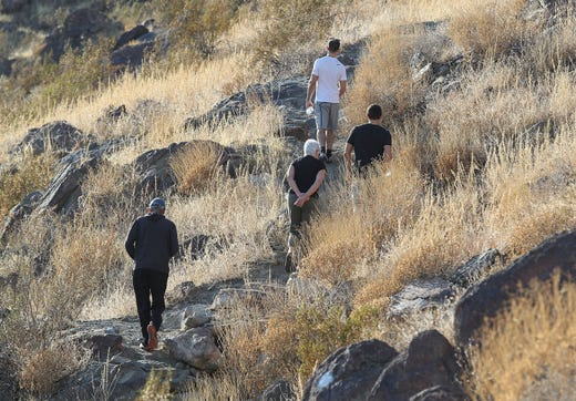Hikers follow the Palm Springs Museum Trail, November 21, 2019.
