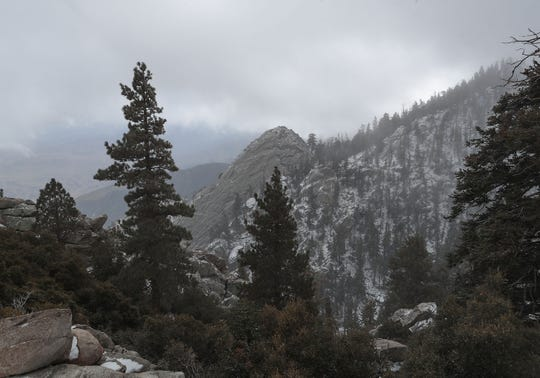 A light dusting of snow covers the the higher elevations near the Desert View Trail in Mt. San Jacinto State Park overlooking Palm Springs, November 20, 2019.