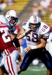 Arizona Wildcats linebacker Tedi Bruschi (68) plays against Stanford at Stanford Stadium.