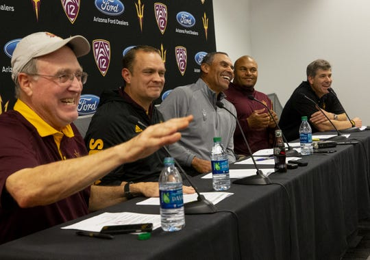 ASU director of player personal, Al Luginbill, defensive coordinator, Danny Gonzales, head football coach, Herm Edwards, linebackers coach, Antonio Pierce, offensive coordinator, Rob Likens, talk about the the Sun Devils' 2019 recruiting class during a news  conference on Dec. 19.