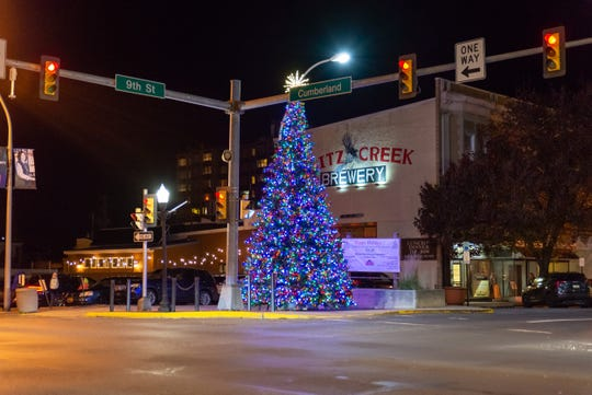 The now lit tree at the intersection of 9th St. and Cumberland St.
