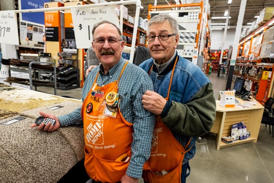 Wayne Pyden, right, poses for a photo with Michael Higgins Monday, Nov. 25, 2019, at Home Depot in Fort Gratiot. Pyden served on the Marysville City Council from 2013 to 2017, and was elected this year to be Marysville's mayor.