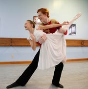 """Hazel Mangelsdorf and Pierce Brennan rehearse their roles in """"The Nutcracker"""" at Pinewood School of Dance in Stormville on November 20, 2019. Hazel is dancing the lead role of Clara and Pierce as the Nutcracker Prince."""
