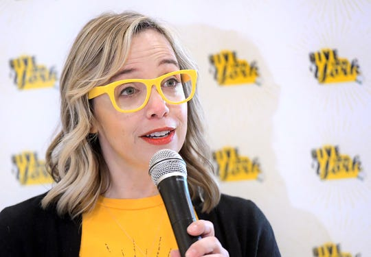 Meagan Given, executive director of the White Rose Leadership Institute, speaks during a press conference announcing the return of Give Local York at the Delco Plaza Giant, Monday, Nov. 25 2019. Giant is a presenting sponsor for the fundraiser which will be held May 1, 2020. Bill Kalina photo