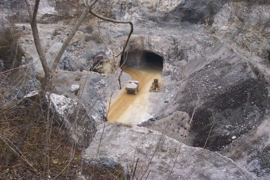 A truck entering one of the adits at the Penny Supply quarry in Thomasville.