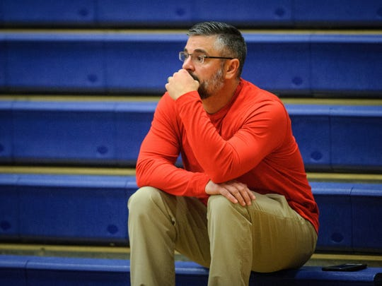 Dover Athletic Director Rich Leathery watches from the stands as the Eagles take on Spring Grove in a YAIAA girls basketball game on Wednesday, Jan. 3, 2018.