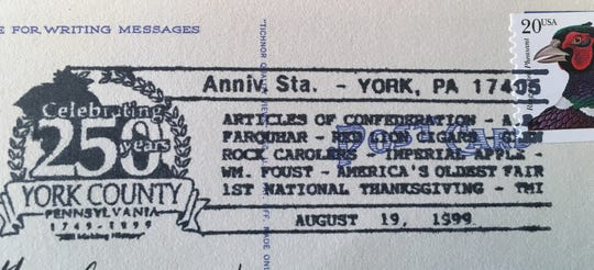 Post card cancellation lists nine events in York County's history as it celebrated 250 years. Postmark date is August 19, 1999.