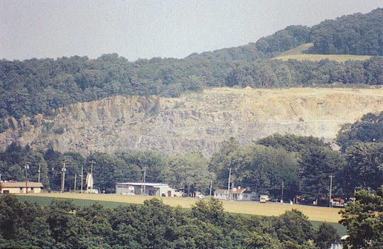 The County Line quarry occurs on the side of the hillside south of Wrightsville.