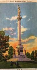 The front of the old post card shows the Civil War Soldiers' and Sailor's Monument at Penn Common. Victory statue atop the monument is facing north. There is no date on the post card itself.