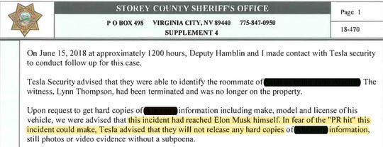Storey County Sheriff's Department report shows Gigafactory workers refused to share information about an investigation over fears CEO Elon Musk would disapprove.