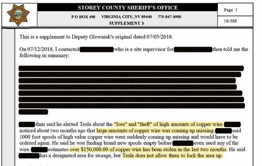 Storey County Sheriff's report shows contractor stating Tesla denied improved security despite reports of large amounts of theft at Gigafactory.