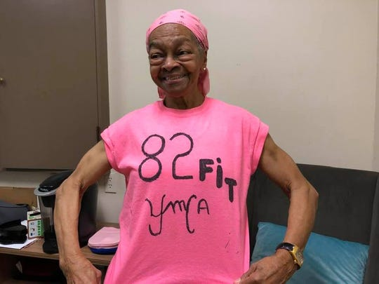 Willie Murphy, wearing a shirt of her own design, at the Maplewood YMCA.