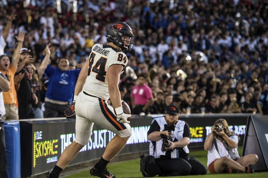 Oregon State tight end Teagan Quitoriano, a Sprague graduate, has now scored two touchdowns this season, at UCLA and at Washington State.