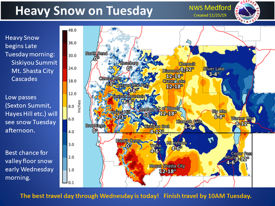 Snow totals projected for southern Oregon include major snow on I-5.