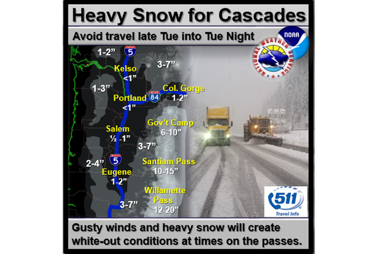 Snow is now expected across northwest Oregon on Tuesday and into Tuesday night.