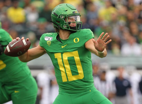 Sep 7, 2019; Eugene, OR, USA;  Oregon Ducks quarterback Justin Herbert (10) looks to throw a pass against Nevada Wolf Pack in the first half at Autzen Stadium. Mandatory Credit: Jaime Valdez-USA TODAY Sports