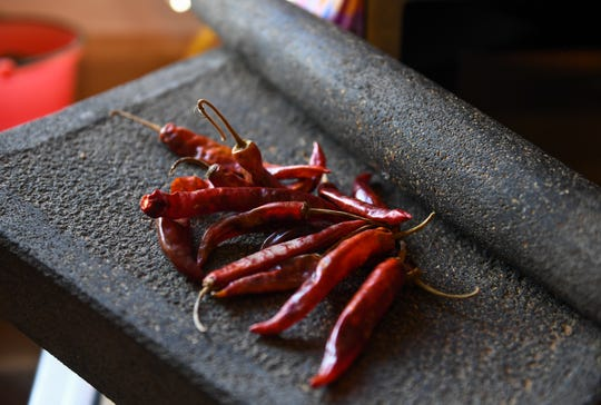 Chile costeno (dried peppers) from the coast of Oaxaca, MX is used in the Rodriguez family to make the Oaxacan  mole on Nov. 23, 2019.